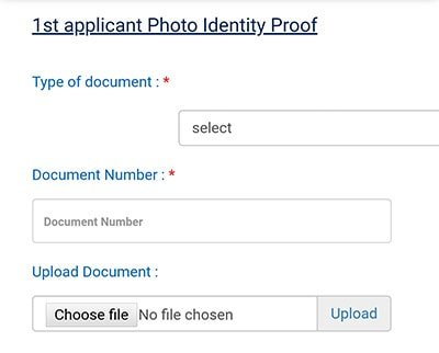 1st applicant photo identity proof