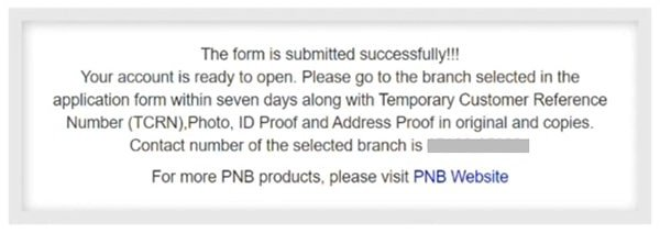PNB Bank Account Opened