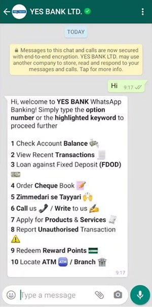 yes bank whatsapp banking shuru kare