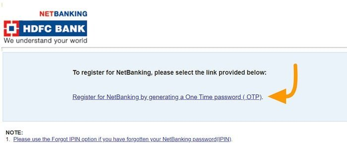 Register for NetBanking by generating a One Time password
