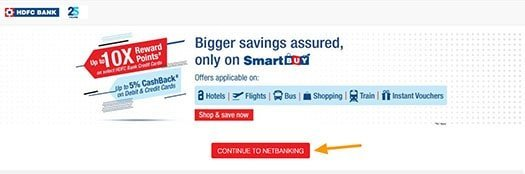 continue to hdfc net-banking