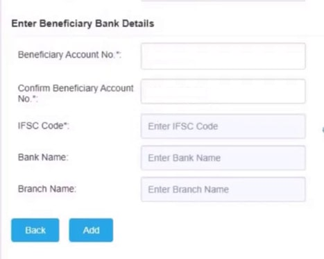 enter beneficiary bank details