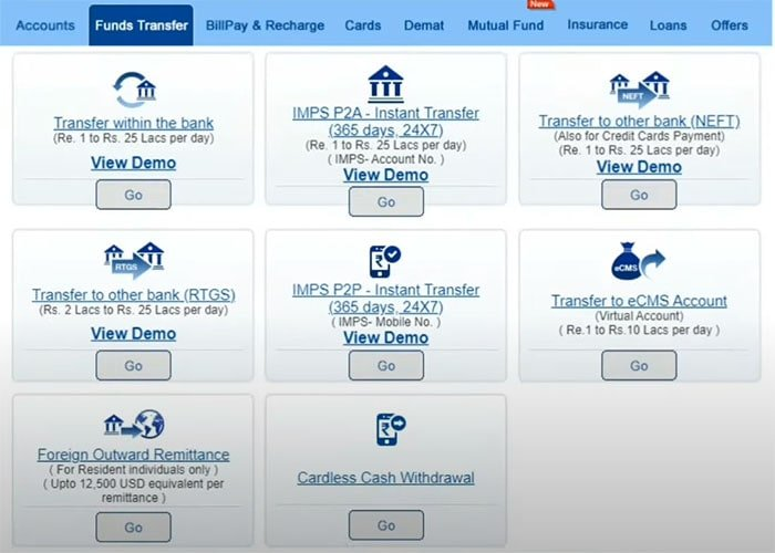 hdfc funds transfer