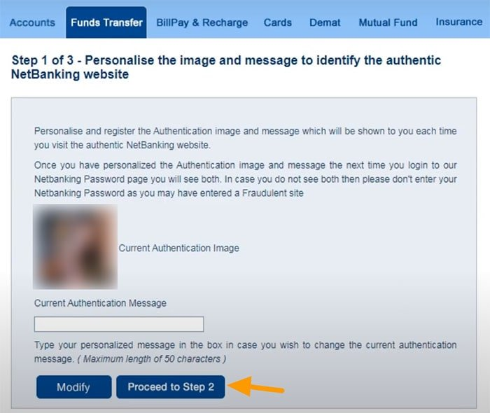 hdfc net banking third party transfer security image