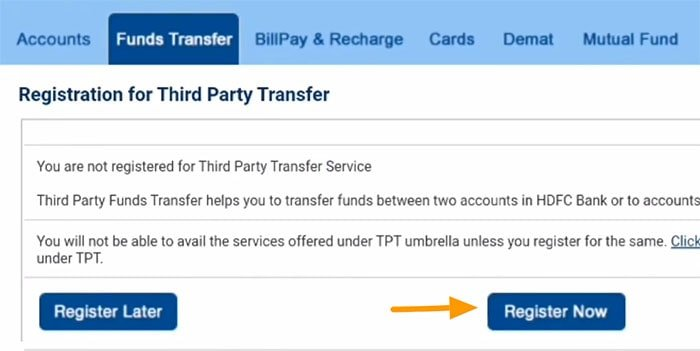registration for third party transfer
