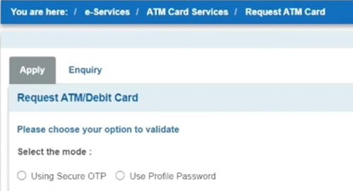 request sbi atm card apply