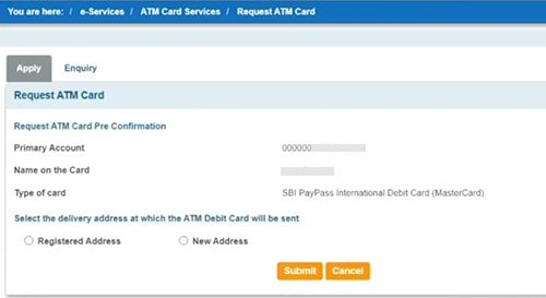 sbi atm card apply request