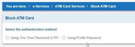 sbi block atm card authentication