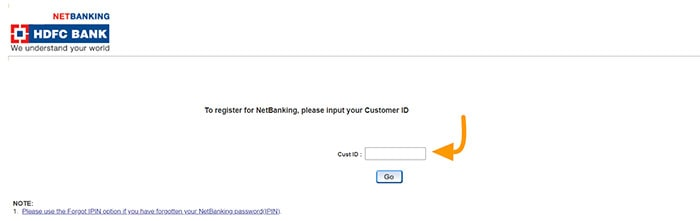 to register for netbanking please input your customer id