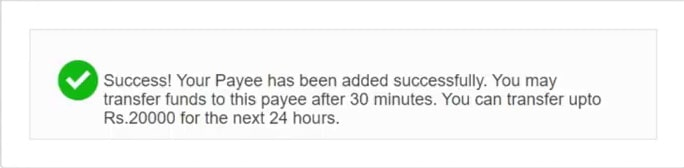 Your Payee has been added successfully