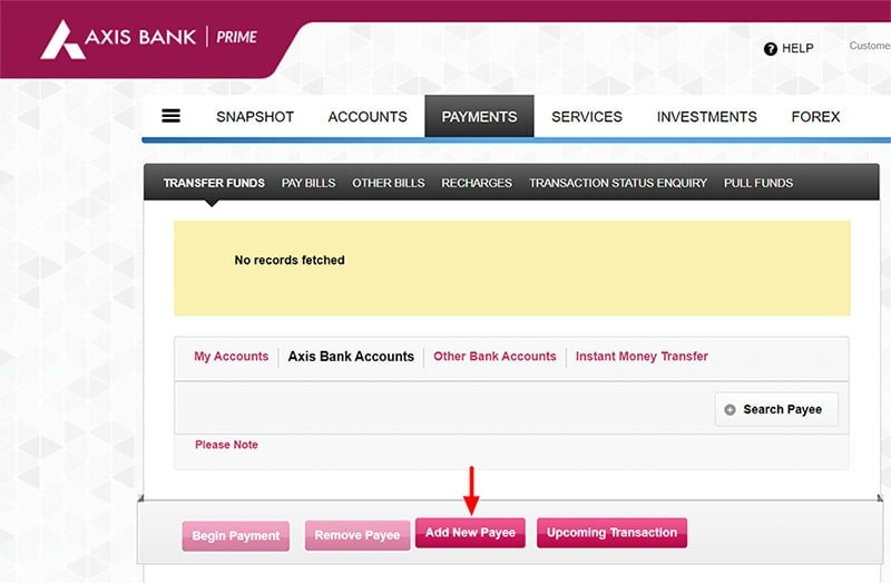 add new beneficiary in axis bank