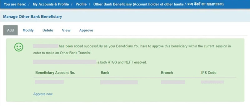 added successfully beneficiary