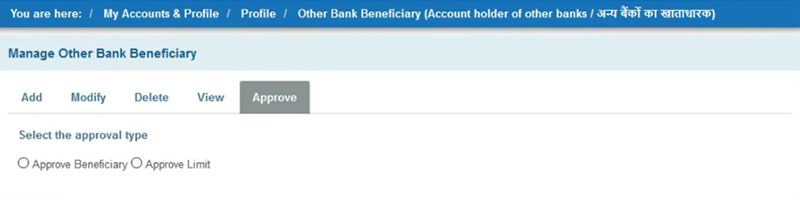 approve sbi bank beneficiary