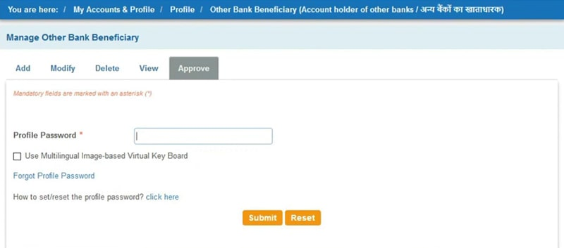 approve sbi beneficiary