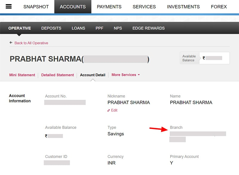 axis bank account branch changed