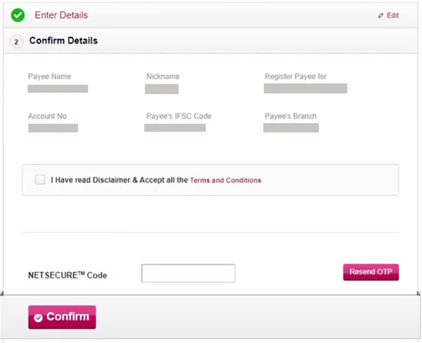 axis bank beneficiary details confirm