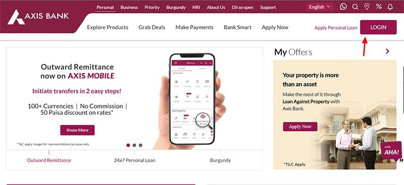 axis bank login page
