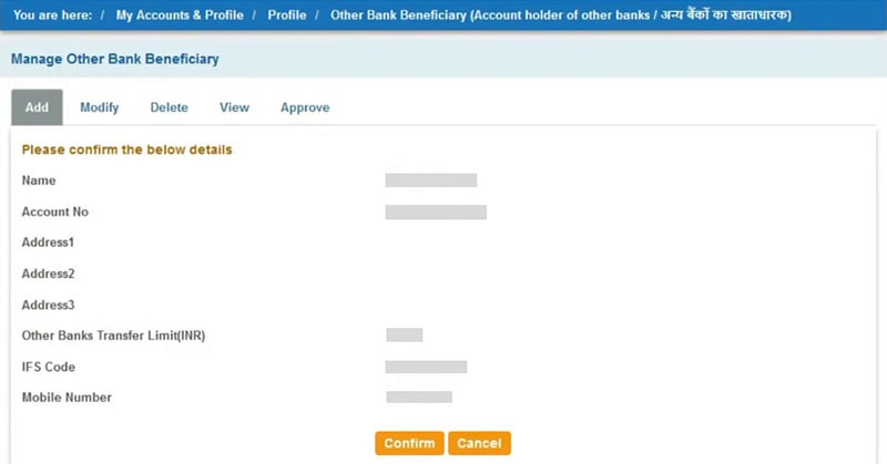 confirm sbi beneficiary detail