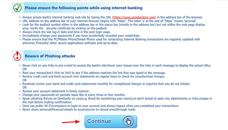 continue uco net banking login
