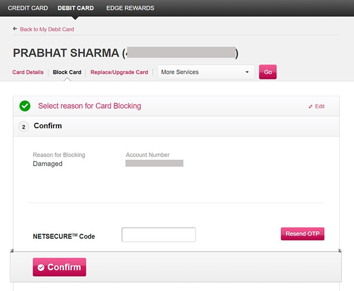 enter otp for axis bank atm card block