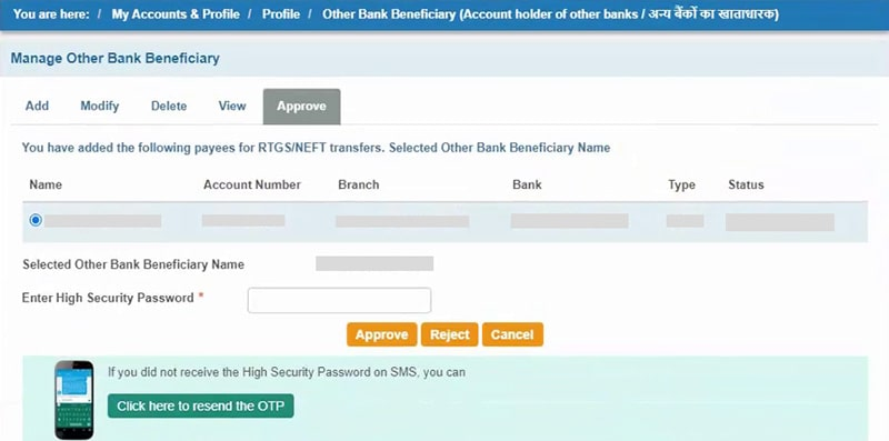 enter otp for sbi beneficiary