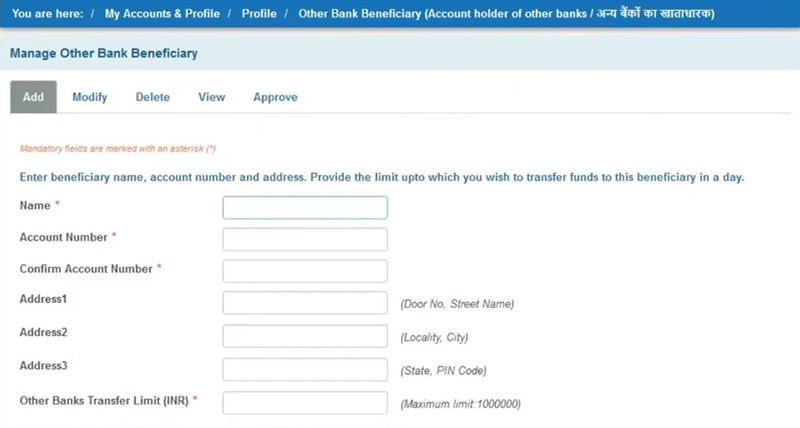 enter sbi beneficiary details