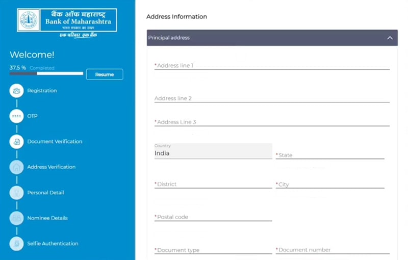 fill address information for account opening in bank of maharashtra