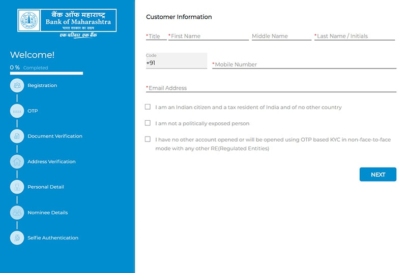 fill customer information for opening account in bank of maharashtra