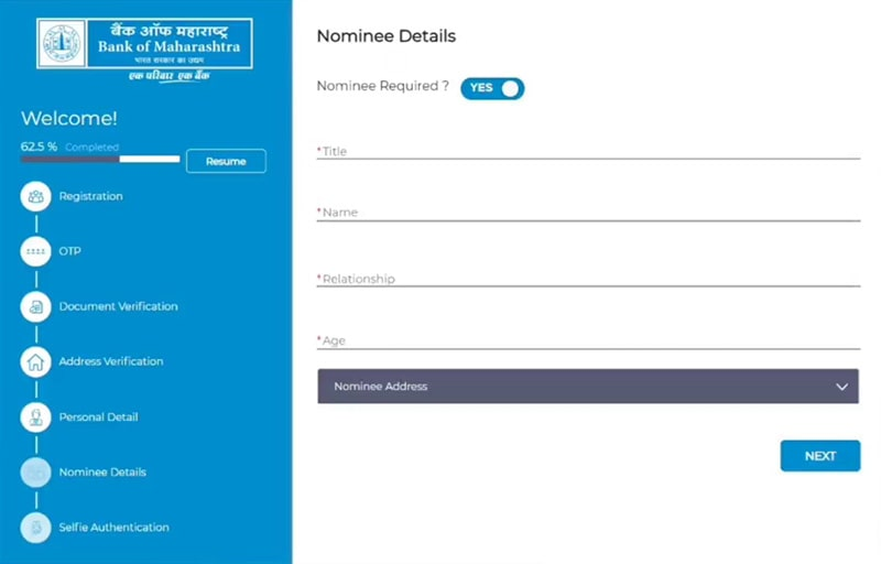fill nominee details for account opening in bank of maharashtra