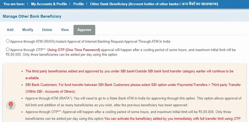 otp for approve sbi bank beneficiary