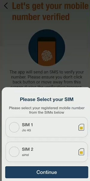 please select your sim