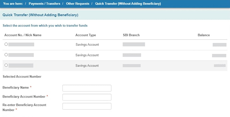 quick transfer without adding beneficiary