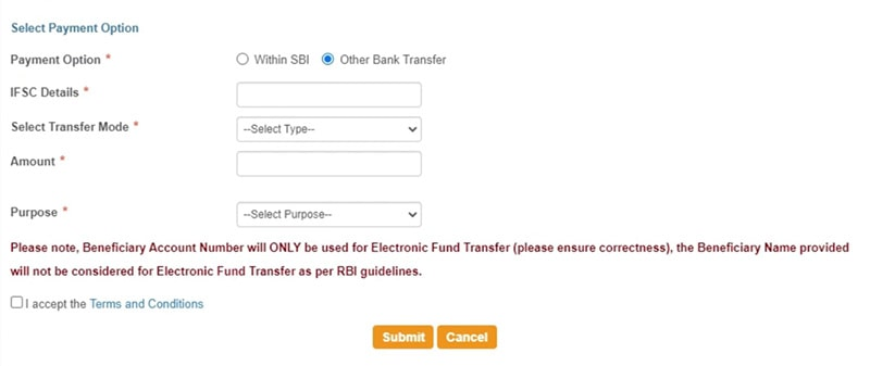 select payments option