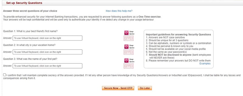 set up security questions