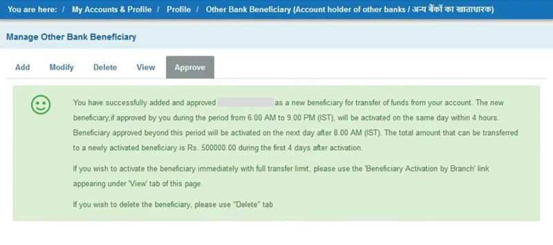 successfully added and approved sbi beneficiary