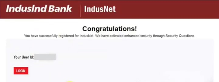 you have successfully registered for indusnet