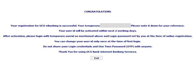 your registration for uco ebanking is successful