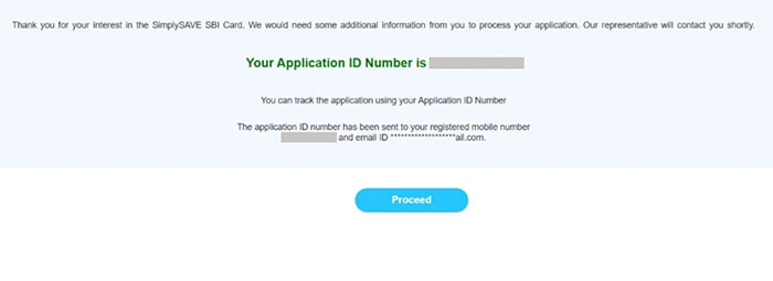 SBI credit card application form has been submitted