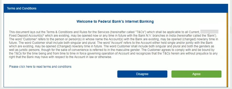 accept term and condition for federal bank net banking activation