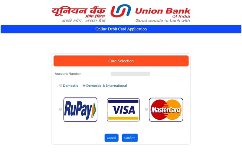 card selection for union bank debit card apply