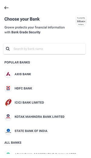 choose your bank for groww app account opening