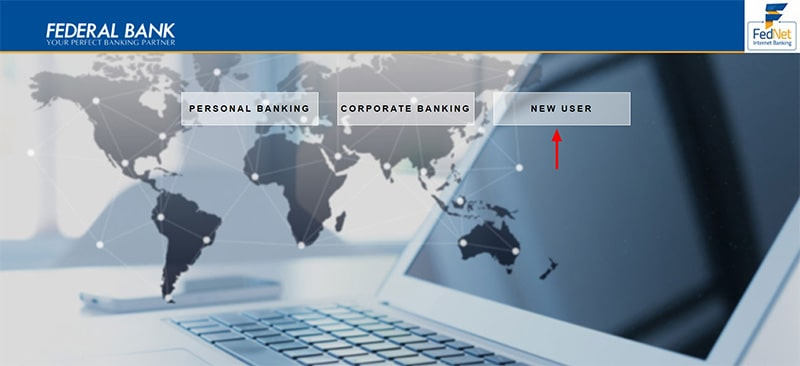 click new user for federal net banking registration