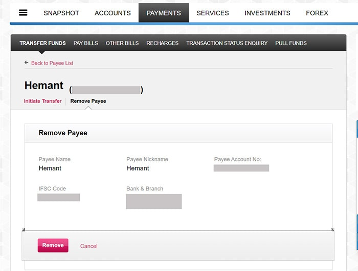 click remove for delete payee in axis bank