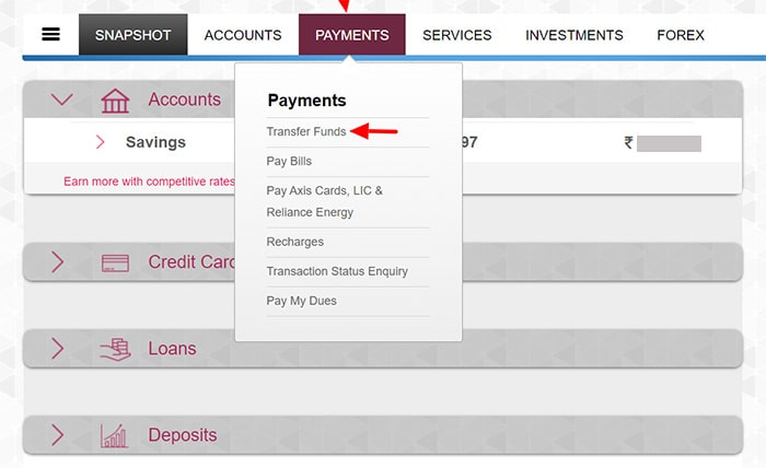 click transfer funds tab for axis bank beneficiary delete
