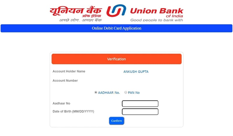 enter aadhar for union bank atm card apply