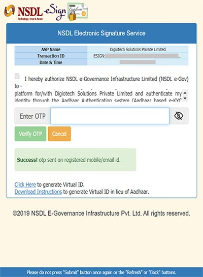 enter otp nsdl for groww app account opening