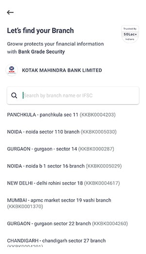 lets find your branch for groww app account opening
