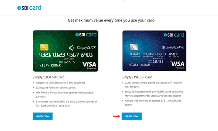 select sbi credit card for apply