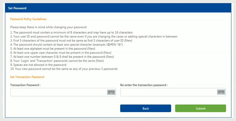 set password for federal bank net banking activation