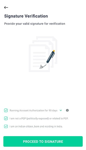 signature verification for groww app account opening